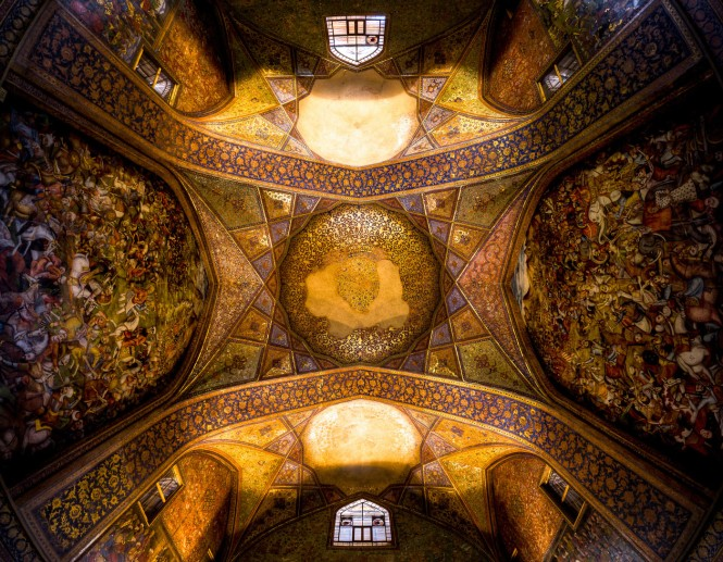 "Chehel Sotoun Chehel Sotoun palace ( literally: ""palace of Forty Columns"") is located in Isfahan. built by Shah Abbas II to be used for his entertainment and receptions. This Image is showing the Ceiling of it`s main hall."